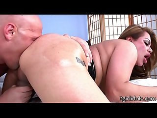 Large tits tranny vixen angela bratzz gets ass ripped until she gets facialed