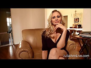 Busty blonde milf Julia ann fingers her pussy excl