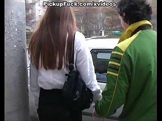 Searing brunette sucks dick hard
