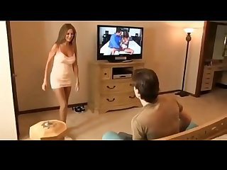 Hotwiferio tanned mother catches son jerking more