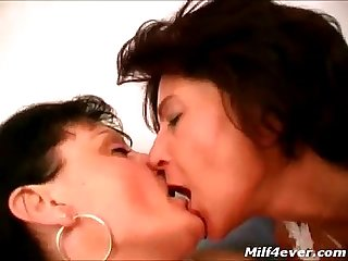 Hot lesbo scene with 2 hairy matures