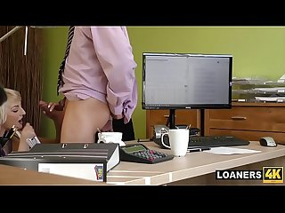 Young blonde bimbo Katy rose fucks horny credit manager for cash approval