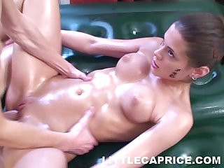 Little caprice gives thai massage and gets load of cum on her flawless Belly
