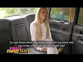 Female Fake Taxi Blonde Fitness babe loves big tits and eating pussy in taxi