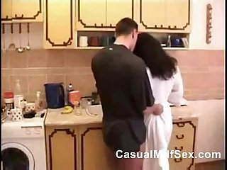 Mom from casualmilfsex com and young boy kitchen fuck porn video
