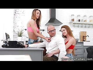 Young Sex Parties - Bisexual Melissa Grand and Hazel Dew threesome home fun