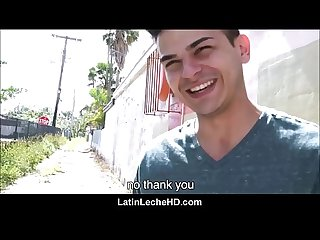 Straight young spanish latino jock interviewed by gay guy on street has sex with him for money pov