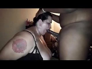 Tatted white bbw gets face fucked by bbc