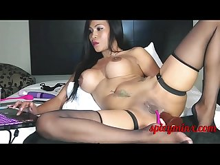 Thai Mature fucks her asshole on Cam
