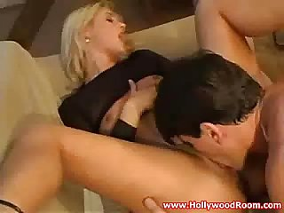 Blonde schoolgirl beauty couchfucked