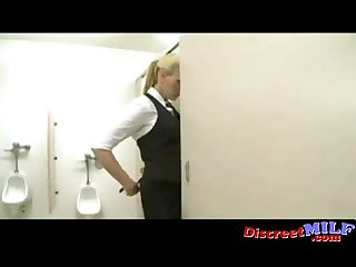 Desperate milf fucked in toilet
