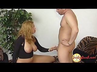 Sexy big tit Milf with shaved cunt gives head then Fuck a lot the dick 4 cum