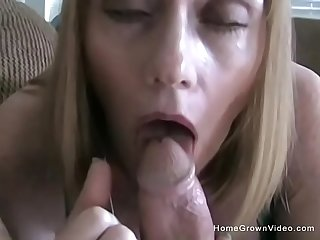 Mature busty blonde stepmom begs to sucks my big cock