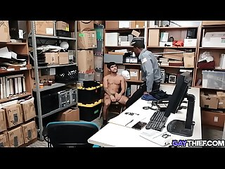 Black dominant security guard barebacks thief