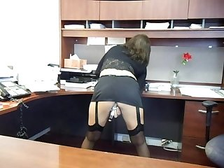 Hot milf toying at work