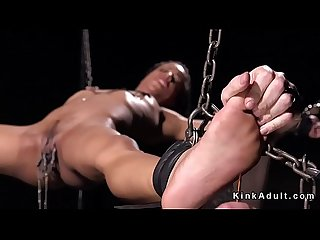 Chained ebony slave anal toyed