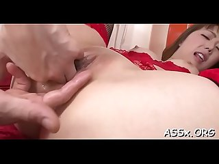 Oriental babe enjoys wild anal toying and rough from behind sex