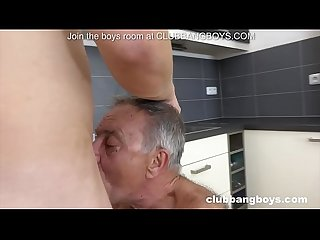 Super old grandpa gets young boy to lick his ass and penetrate ass