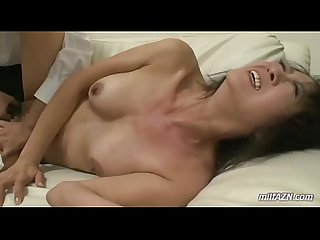 Mature woman getting her mouth and pussy fucked by old husband on The couch in t