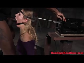 Bdsm sub machine held and facefucked by Bbc