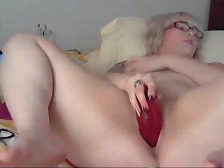 Chubby blonde Girl fucks Dildo and shows feet on cam sluttycams net