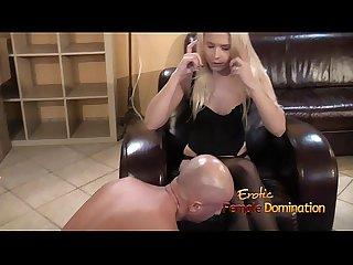 Mistress in lingerie humiliates slave