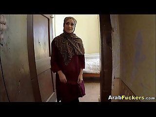 Poor Arab girl desperate for cash sucks and fucks