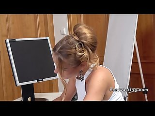 Slim blonde female agent fucks huge dick