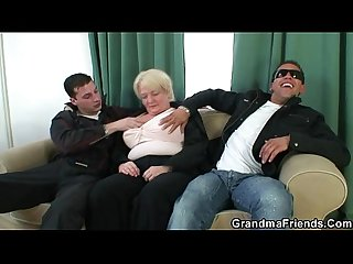 Two dudes fuck totally boozed granny