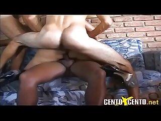 Blonde tranny gangbang bareback creampie