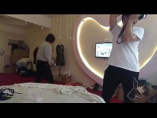 Chinese lingerie model changing clothes in room with hidden camera