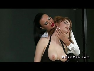 Femdom hirsute pussy toying in dungeon