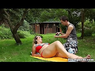 Outdoor bikini plumper facesitting before bj