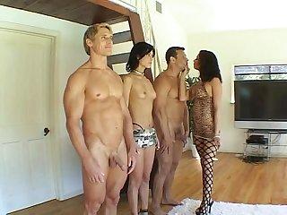 2 hard cocks take on 2 sluts with nice racks