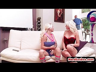 Hot & Mean lesbians punish new office secretary with a strap-on 15