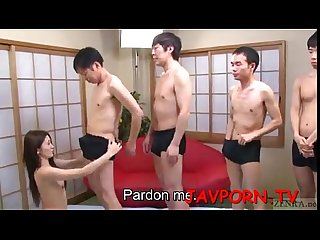 Beautiful japanese girl forced blowjob for seven boys