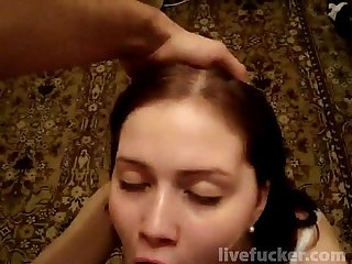 Good wife down on her knees sucks dick and gets a mouthful of cum