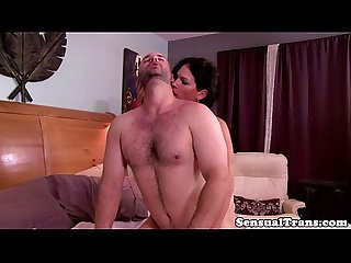 Tgirl tranny sensually giving it to her man