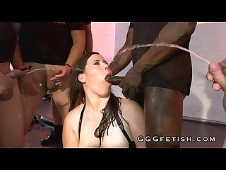 Interracial oral sex with pissing