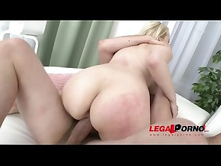 Thick blonde slut Angel Wicky double anal fucked by three guys SZ1539