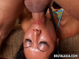 After a hot deep throat she gets pussy plowed