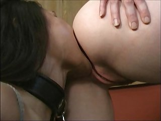 Asian slave lesbian on leash worships white ass