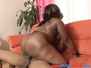 Huge Ass Black BBW Screwing On The Couch