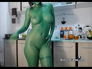 Camgirl full green body paint