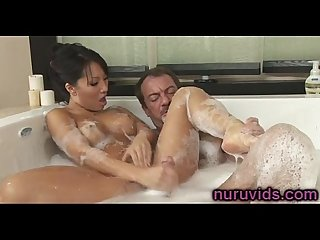 Asa akira hot handjob in the bathtub