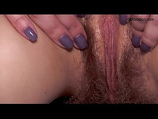 Hot hairy babe massaged on the table
