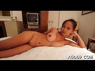 Oriental honey gets pussy fondled