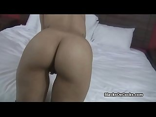 Dicking a perky ebony amateur at casting