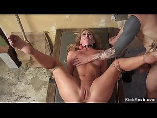 Stunning gagged Milf anal fucked and cummed
