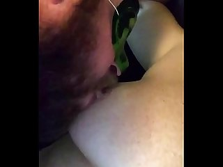 Licking whipped cream off amateur wife s tits and pussy